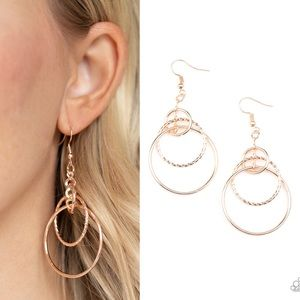 Three Ring Couture - Rose Gold- Paparazzi Earrings